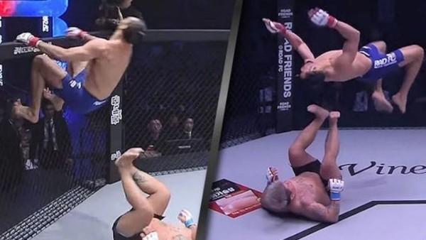 El video de la espectacular acrobacia de un luchador de la MMA que terminó en un durísimo nocaut