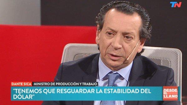 """Dante Sica pidió """"resguardar la estabilidad cambiaria de la contienda política"""""""
